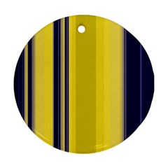 Yellow Blue Background Stripes Ornament (Round)