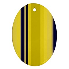 Yellow Blue Background Stripes Ornament (oval)