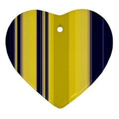 Yellow Blue Background Stripes Ornament (heart)