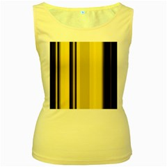 Yellow Blue Background Stripes Women s Yellow Tank Top