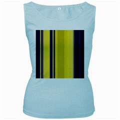 Yellow Blue Background Stripes Women s Baby Blue Tank Top