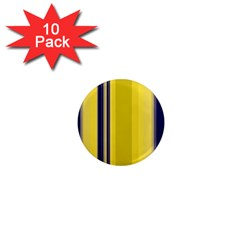 Yellow Blue Background Stripes 1  Mini Magnet (10 pack)