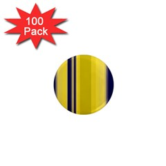 Yellow Blue Background Stripes 1  Mini Magnets (100 Pack)