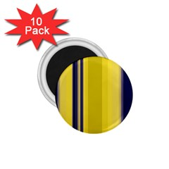 Yellow Blue Background Stripes 1.75  Magnets (10 pack)
