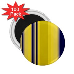 Yellow Blue Background Stripes 2 25  Magnets (100 Pack)