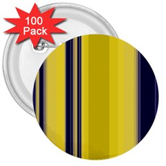 Yellow Blue Background Stripes 3  Buttons (100 pack)