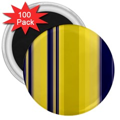 Yellow Blue Background Stripes 3  Magnets (100 pack)