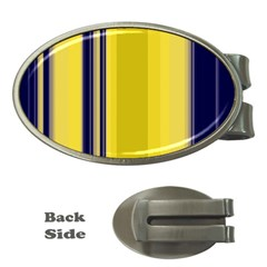 Yellow Blue Background Stripes Money Clips (Oval)