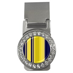 Yellow Blue Background Stripes Money Clips (CZ)