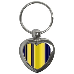 Yellow Blue Background Stripes Key Chains (Heart)