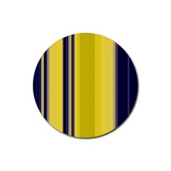 Yellow Blue Background Stripes Rubber Coaster (Round)