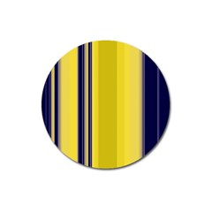 Yellow Blue Background Stripes Magnet 3  (Round)
