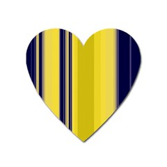 Yellow Blue Background Stripes Heart Magnet