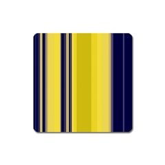 Yellow Blue Background Stripes Square Magnet