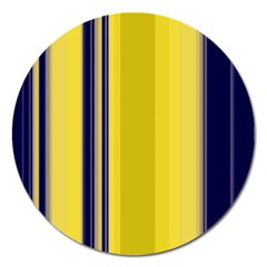 Yellow Blue Background Stripes Magnet 5  (round)