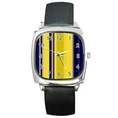 Yellow Blue Background Stripes Square Metal Watch