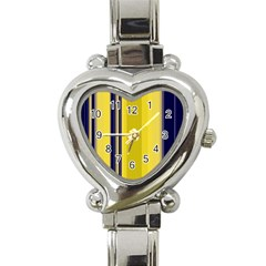 Yellow Blue Background Stripes Heart Italian Charm Watch