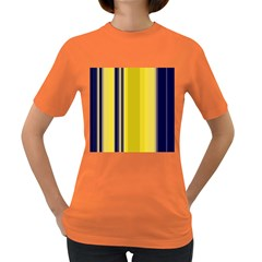Yellow Blue Background Stripes Women s Dark T-Shirt