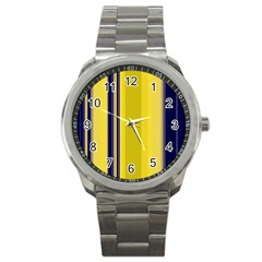 Yellow Blue Background Stripes Sport Metal Watch