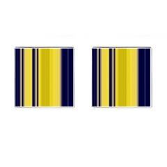 Yellow Blue Background Stripes Cufflinks (square)