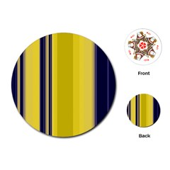 Yellow Blue Background Stripes Playing Cards (Round)