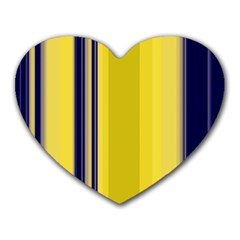 Yellow Blue Background Stripes Heart Mousepads