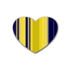 Yellow Blue Background Stripes Rubber Coaster (heart)