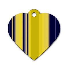 Yellow Blue Background Stripes Dog Tag Heart (Two Sides)