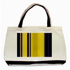 Yellow Blue Background Stripes Basic Tote Bag (Two Sides)