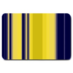 Yellow Blue Background Stripes Large Doormat