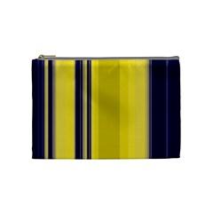 Yellow Blue Background Stripes Cosmetic Bag (Medium)