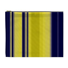 Yellow Blue Background Stripes Cosmetic Bag (XL)