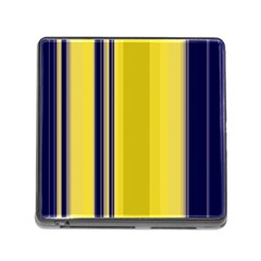 Yellow Blue Background Stripes Memory Card Reader (Square)