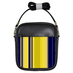 Yellow Blue Background Stripes Girls Sling Bags