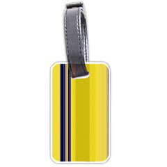 Yellow Blue Background Stripes Luggage Tags (One Side)