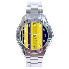 Yellow Blue Background Stripes Stainless Steel Analogue Watch