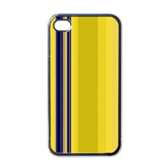 Yellow Blue Background Stripes Apple Iphone 4 Case (black)