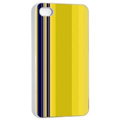 Yellow Blue Background Stripes Apple iPhone 4/4s Seamless Case (White)