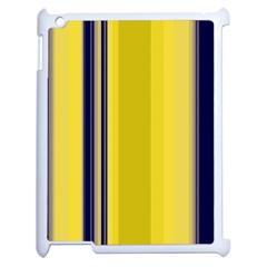 Yellow Blue Background Stripes Apple iPad 2 Case (White)