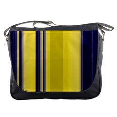 Yellow Blue Background Stripes Messenger Bags