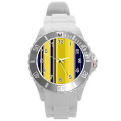 Yellow Blue Background Stripes Round Plastic Sport Watch (L)