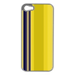 Yellow Blue Background Stripes Apple iPhone 5 Case (Silver)