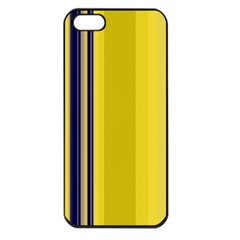 Yellow Blue Background Stripes Apple iPhone 5 Seamless Case (Black)