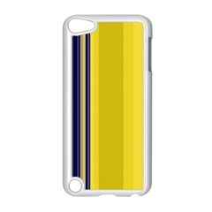 Yellow Blue Background Stripes Apple iPod Touch 5 Case (White)