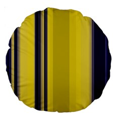 Yellow Blue Background Stripes Large 18  Premium Round Cushions
