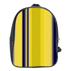 Yellow Blue Background Stripes School Bags (XL)