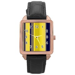 Yellow Blue Background Stripes Rose Gold Leather Watch