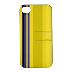 Yellow Blue Background Stripes Apple iPhone 4/4S Hardshell Case with Stand