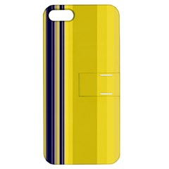 Yellow Blue Background Stripes Apple iPhone 5 Hardshell Case with Stand