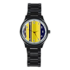 Yellow Blue Background Stripes Stainless Steel Round Watch